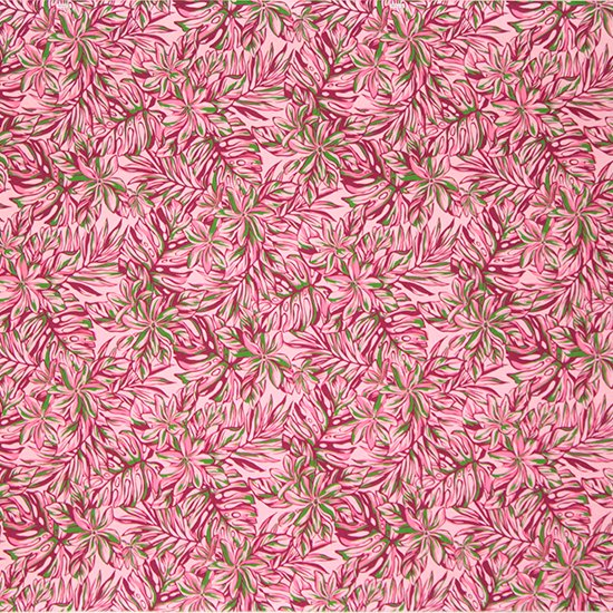 ピンクのハワイアンファブリック ティアレ・モンステラ柄 fab-2576Pi 【4yまでメール便可】【NPS】