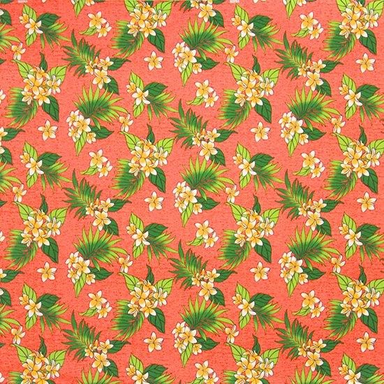 ピンクのハワイアンファブリック プルメリア柄 fab-2583PiOR 【4yまでメール便可】【NPS】