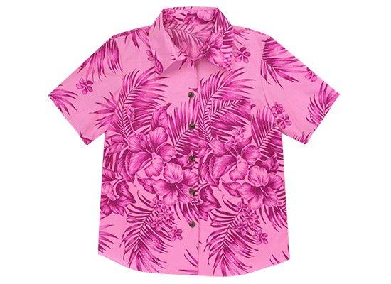 ピンクのアロハシャツ ハイビスカス・ヤシ柄 フルオープン・台襟付き レディース ワヒネ用 32008BL-2542Pi【既製品】