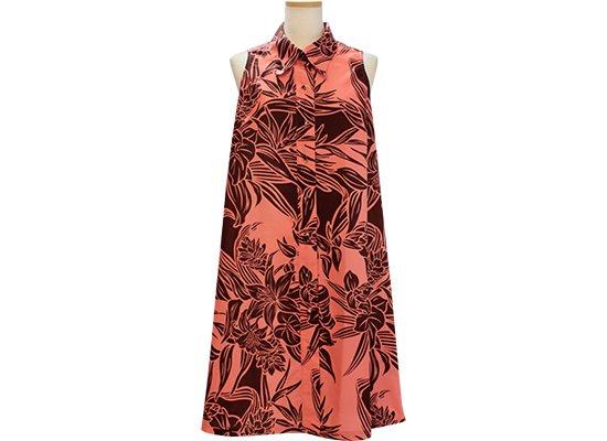 ピンクのノースリーブワンピース 襟付きタイプ 茶色のリリー・アンスリウム柄 41031-2516PiBR 9号 11号 13号 既製品