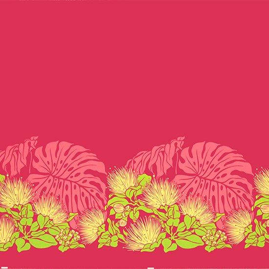ピンクのハワイアンファブリック レフア・モンステラ柄 fab-2589Pi 【4yまでメール便可】【NPS】