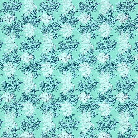 水色のハワイアンファブリック コーラル柄 fab-2594AQ 【4yまでメール便可】 【NPS】