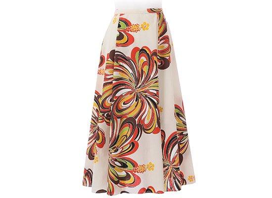クリーム色のフレアースカート 9号 既製品 ハイビスカス柄 33006-2334CR