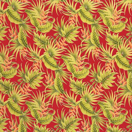 赤のハワイアンファブリック ヘリコニア・モンステラ・ヤシ柄 fab-2605RD 【4yまでメール便可】【NPS】