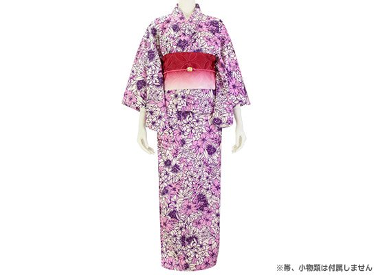クリーム色と紫のハワイアン柄 浴衣 大人用 ハイビスカス・レフア総柄 セパレートタイプ 2560CRPP【既製品】 ゆかた