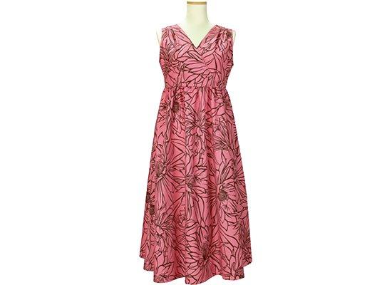 ノースリーブワンピース ピンクのナイトブルーミングセレウス柄 61003-2577PiBR