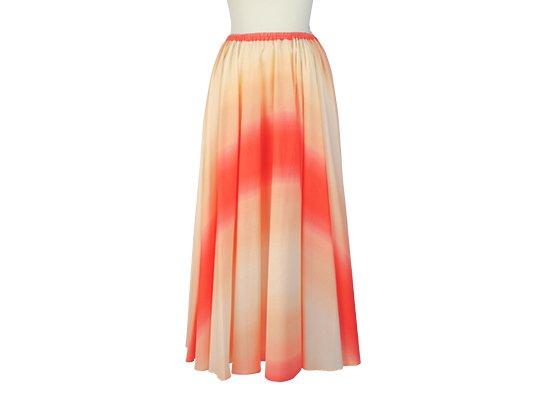 サーキュラースカート クリーム色と赤の グラデーション柄 33007-2270CRRD