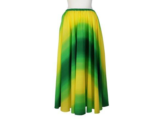 サーキュラースカート 黄色と緑の グラデーション柄 33007-2270YWGN