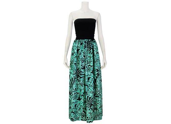 チューブトップドレス ロングタイプ ワンピース プルメリア・ハイビスカス柄 61007-2514BK