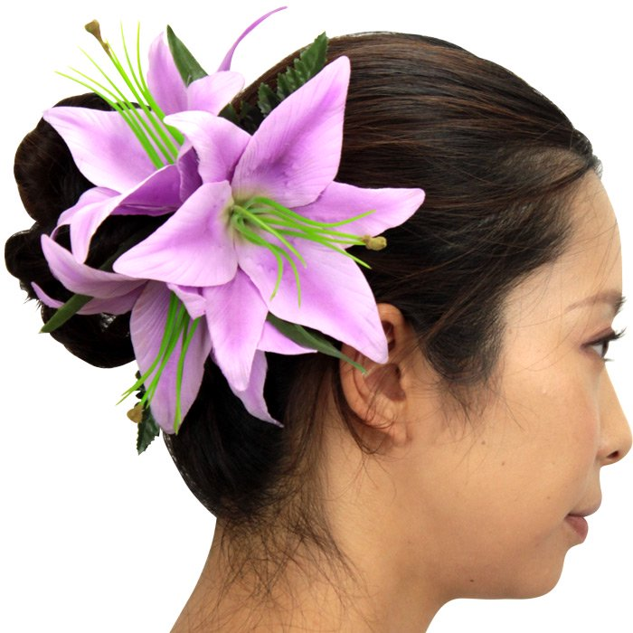紫のヘアクリップ リリー 3輪 sw1708m003lily-PP