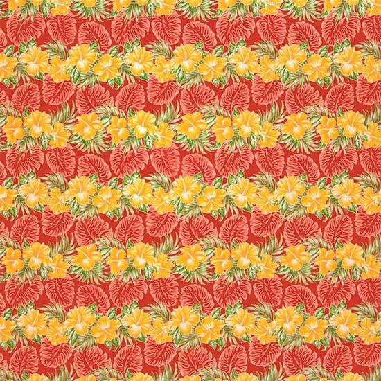 赤のハワイアンファブリック ハイビスカス・モンステラ柄 fab-2626RD 【4yまでメール便可】【NPS】