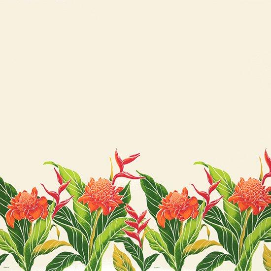 クリーム色のハワイアンファブリック プロテア・バードオブパラダイス柄 fab-2627CR 【4yまでメール便可】【NPS】
