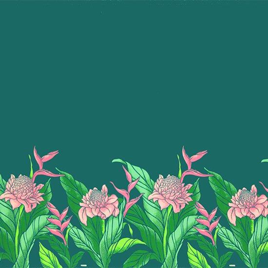 ヒスイ色のハワイアンファブリック プロテア・バードオブパラダイス柄 fab-2627JD 【4yまでメール便可】