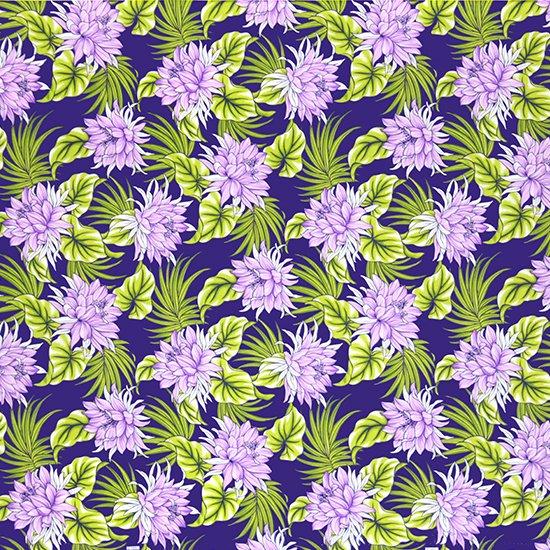 紫のハワイアンファブリック ナイトブルーミングセレウス柄 fab-2639PP 【4yまでメール便可】【NPS】