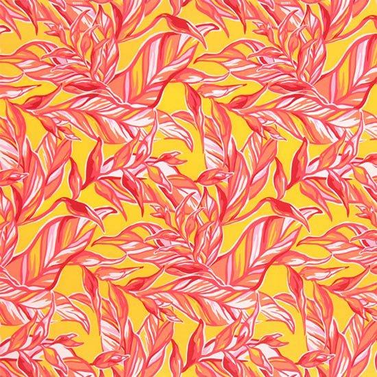 黄色のハワイアンファブリック リーフ柄 fab-2644YW 【4yまでメール便可】【NPS】