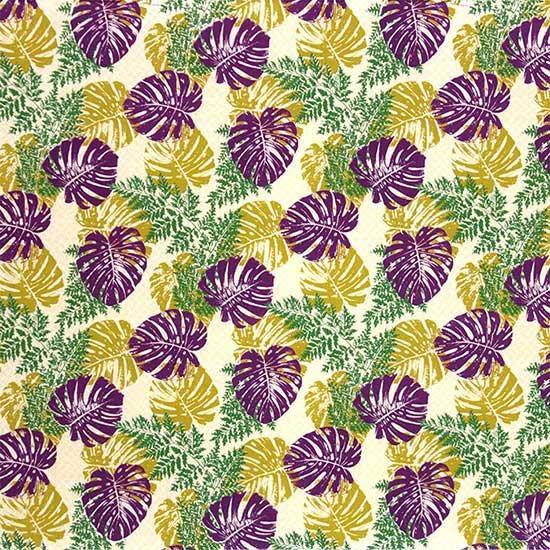 ベージュと紫のハワイアンファブリック モンステラ・パラパライ柄 fab-2646BGPP 【4yまでメール便可】