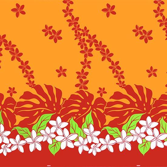 オレンジのハワイアンファブリック プルメリア・モンステラ柄 fab-2647OR 【4yまでメール便可】【NPS】
