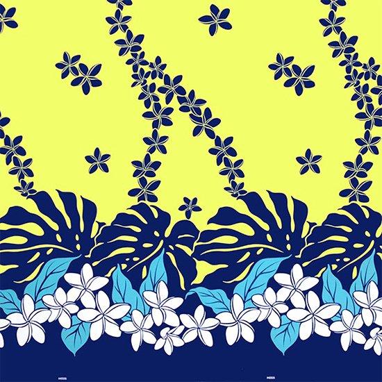 黄色のハワイアンファブリック プルメリア・モンステラ柄 fab-2647YW 【4yまでメール便可】