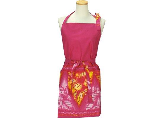 ピンクのキッチンエプロン ハイビスカス・タパ・ボーダー柄 APB2622Pi 【メール便可】