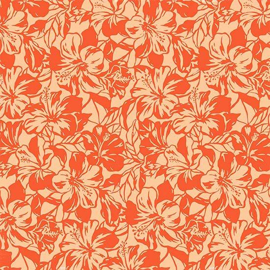 オレンジのハワイアンファブリック ハイビスカス柄 fab-2650OR 【4yまでメール便可】【NPS】