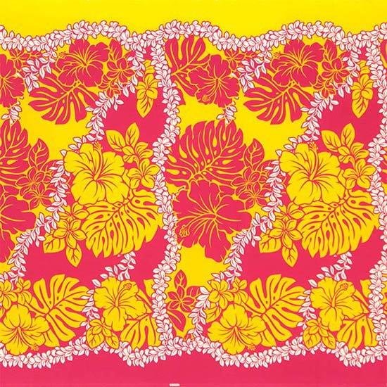 ピンクのハワイアンファブリック ハイビスカス・モンステラ・レイ柄 fab-2651Pi 【4yまでメール便可】【NPS】