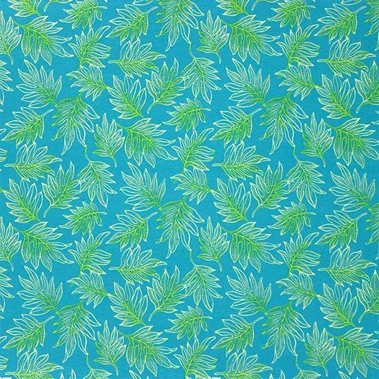 水色のハワイアンファブリック ラウアエ柄 fab-2653AQ 【4yまでメール便可】
