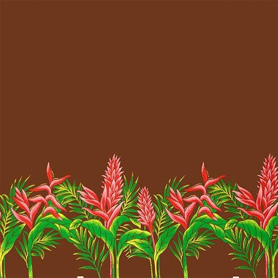 茶色のハワイアンファブリック レッドジンジャー・ヘリコニア柄 fab-2654BR 【4yまでメール便可】【NPS】