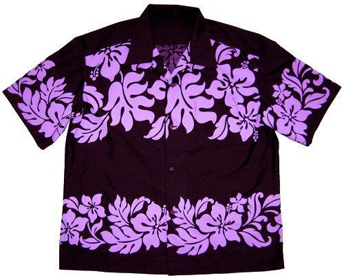 黒のアロハシャツ 紫のハイビスカス柄