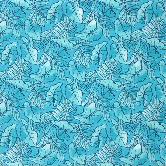 水色のハワイアンファブリック タロ・ラウアエ柄 fab-2655AQ 【4yまでメール便可】