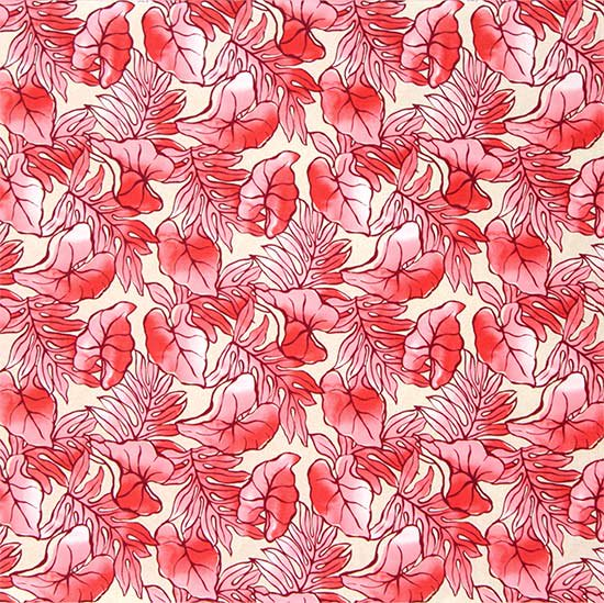 クリーム色とピンクのハワイアンファブリック タロ・ラウアエ柄 fab-2655CRPi 【4yまでメール便可】【NPS】