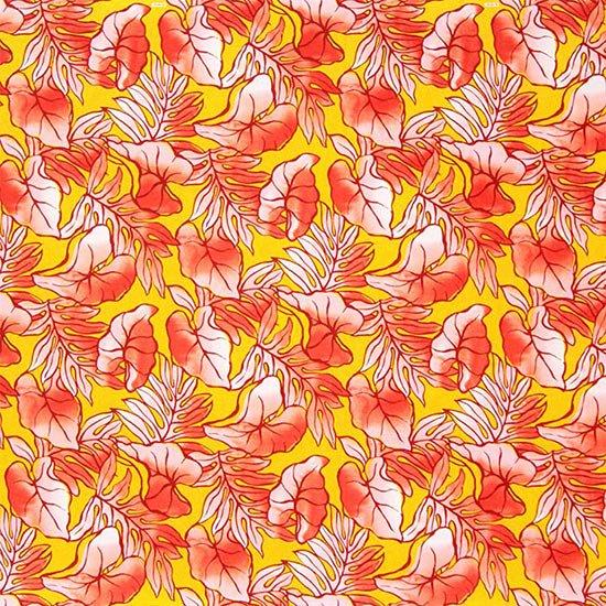 黄色と赤のハワイアンファブリック タロ・ラウアエ柄 fab-2655YWRD 【4yまでメール便可】