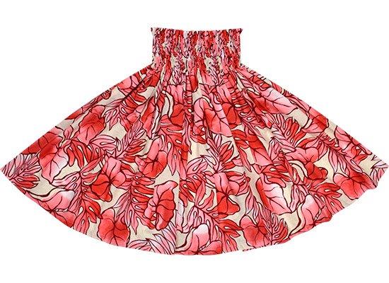 クリーム色と赤のパウスカート タロ・ラウアエ柄 spau-2655CRPi