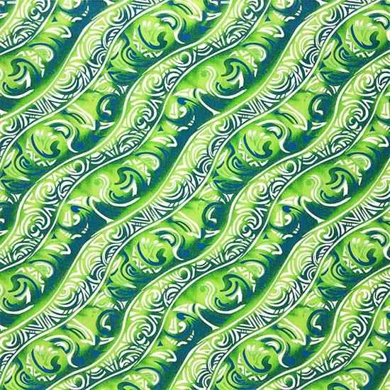 きみどりと緑のハワイアンファブリック トライバル柄 fab-2656LGGN 【4yまでメール便可】