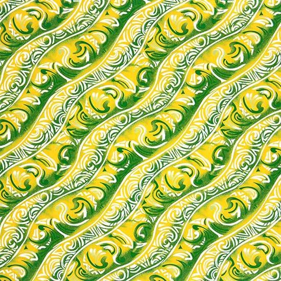 黄色と緑のハワイアンファブリック トライバル柄 fab-2656YWGN 【4yまでメール便可】【NPS】