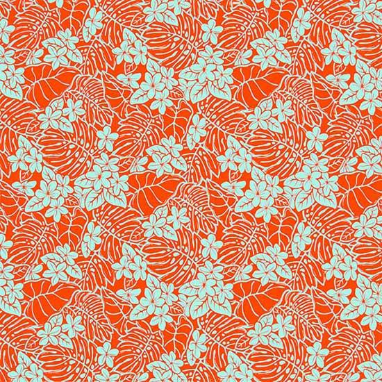 オレンジのハワイアンファブリック プルメリア・モンステラ柄 fab-2657OR 【4yまでメール便可】【NPS】