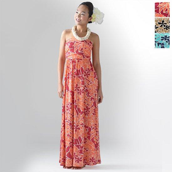 【リゾートライン】ドレープチューブトップワンピース ドレス 71018 ティアレ柄 M,Lサイズ【色とサイズが選べる】【既製品】