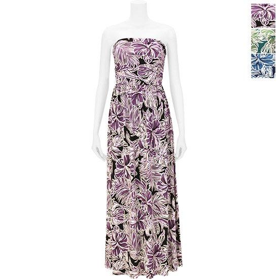 【リゾートライン】ドレープチューブトップワンピース ドレス 71018 ハイビスカス柄 M,Lサイズ【色とサイズが選べる】【既製品】