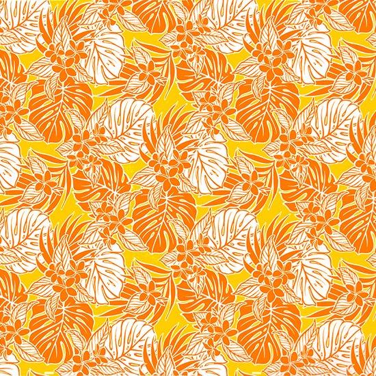 オレンジのハワイアンファブリック プルメリア・モンステラ・ヤシ柄 fab-2661OR 【4yまでメール便可】【NPS】