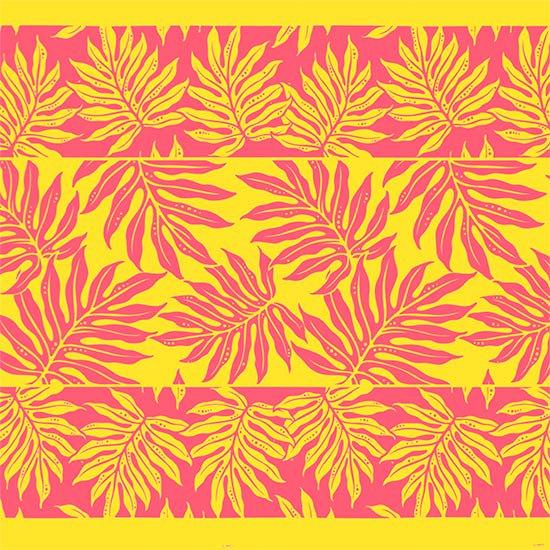 黄色のハワイアンファブリック ラウアエ・ボーダー柄 fab-2662YW 【4yまでメール便可】