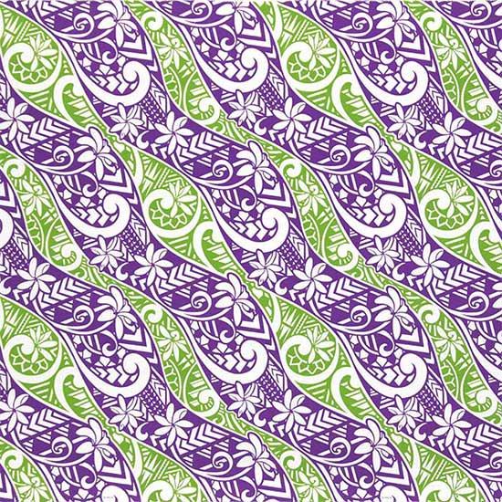 紫のハワイアンファブリック ティアレ・タパ柄 fab-2665PP 【4yまでメール便可】【NPS】