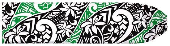 黒と緑のパウスカートケース ティアレ・タパ柄 pcase-2665BKGN 【メール便可】★オーダーメイド