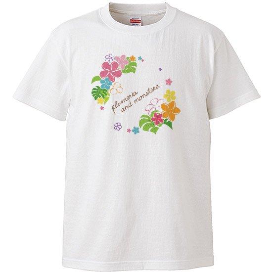 レディースTシャツ−プルメリア モンステラ サークル 白 【2枚までメール便可】
