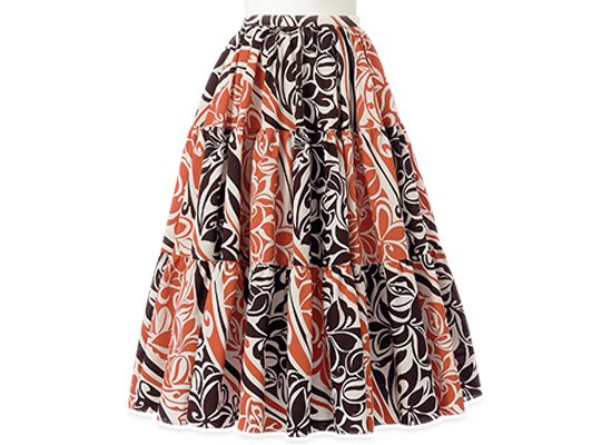 茶色のティアードスカート 9号 75cm skt-2382BRBK 【サンプル品】 43007