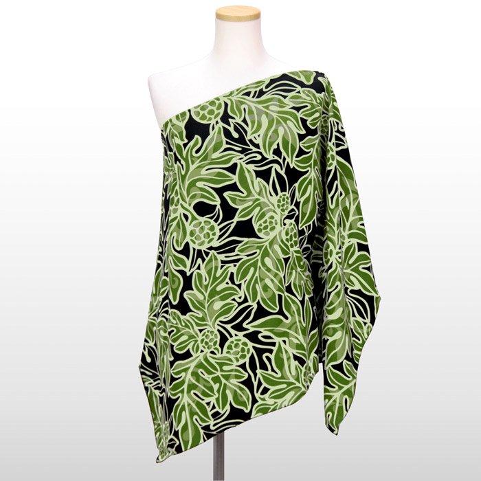 緑のワンショルダー チュニック ウル柄 フリーサイズ ミディアム丈
