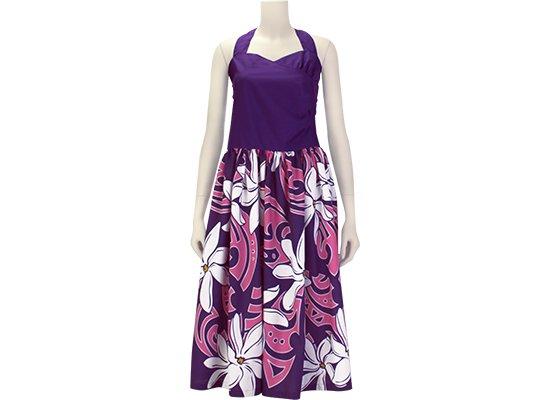 紫のシャーリング フラドレス ホルターネック 9号 既製品 ティアレ・タヒチ柄 rmds-r41056ds-2451PPPi