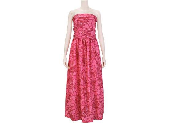 ピンクのシャーリング フラドレス ベアトップ 9号 既製品 ハイビスカス・プルメリア総柄 rmds_r31022ds-2539Pi