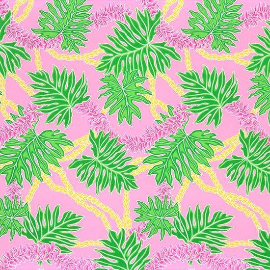 ピンクのハワイアンファブリック ラウアエ・フラワーレイ柄 fab-2666Pi 【4yまでメール便可】【NPS】