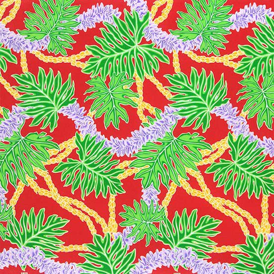 赤のハワイアンファブリック ラウアエ・フラワーレイ柄 fab-2666RD 【4yまでメール便可】【NPS】