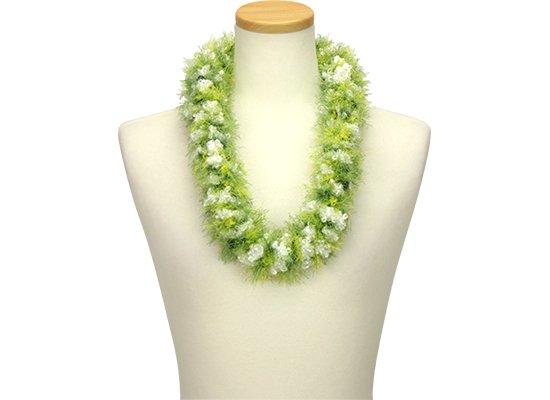 ホワイトとグリーンのプアラニレイ pualani-lei_WH-GN