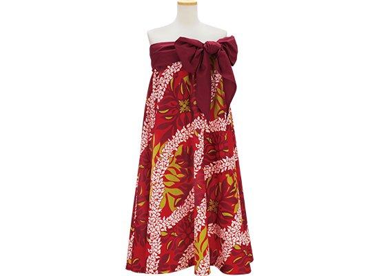 赤のサッシュ付ドレス キルト・レイ柄 既製品 Mサイズ Lサイズ rmds-43003-2462RD